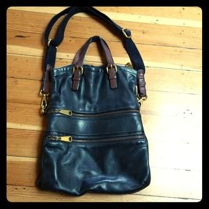 Fossil crossbody black leather bag purse